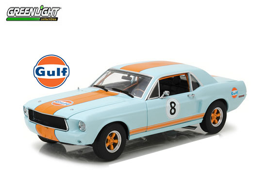 Greenlight 1/18 1967 Ford Mustang Coupe Gulf Oil Light Blue/Oran