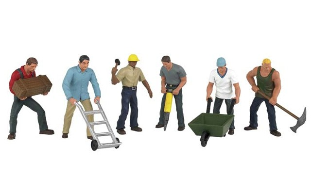 Bachman HO Construction Workers (6pc)