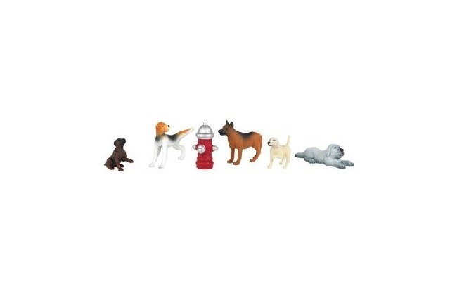 Bachman HO Scene Scapes Dogs with Fire Hydrant (6pc)