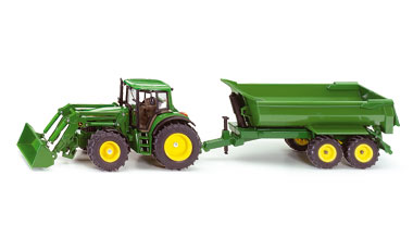 Siku 1/32 John Deere with Front Loader and Tipper Trailer