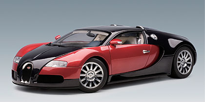 AutoArt 1/12 Bugatti EB 16.4 Veyron Prod Car Black-Red