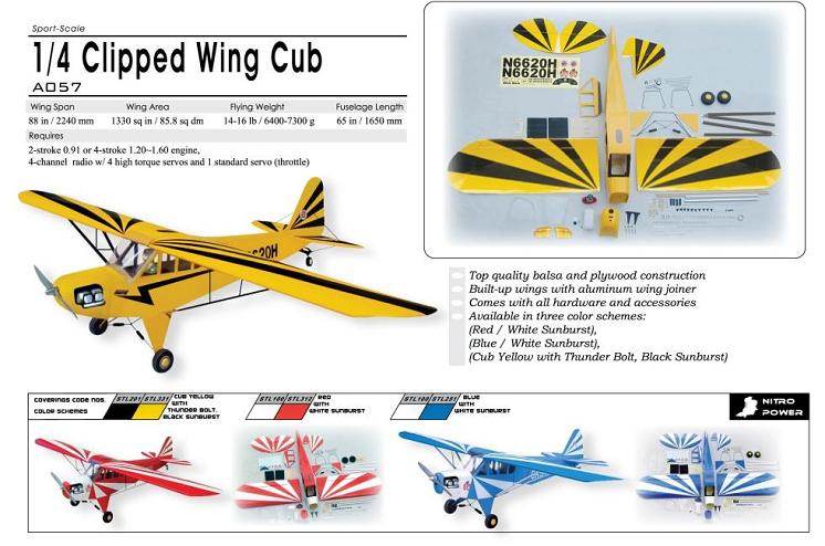 World Models CLIPPED WING CUB 1/4 Scale (Blue) 91 ARTF