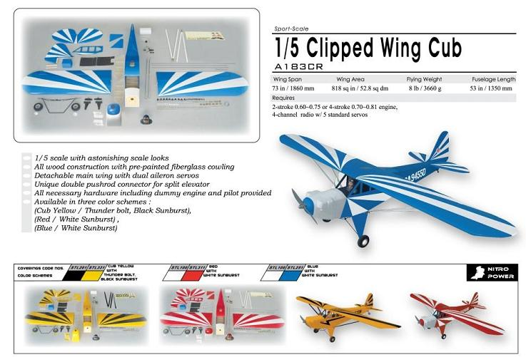 World Models CLIPPED WING  CUB 1/5 Scale (Yellow) 61 ARTF
