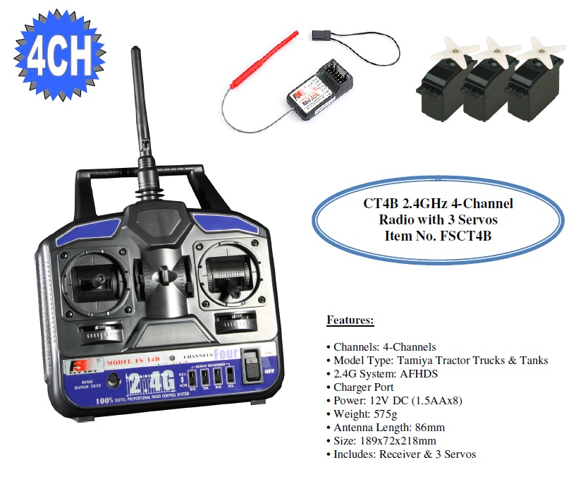 FlySky CT4B 2.4GHz 4 Channel Radio with 3 Servos