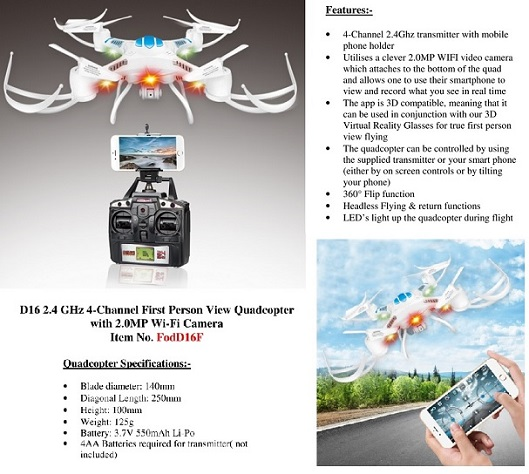 JXD/Fodo D16 2.4 GHz 4-Channel First Person View Quadcopter w/Ca