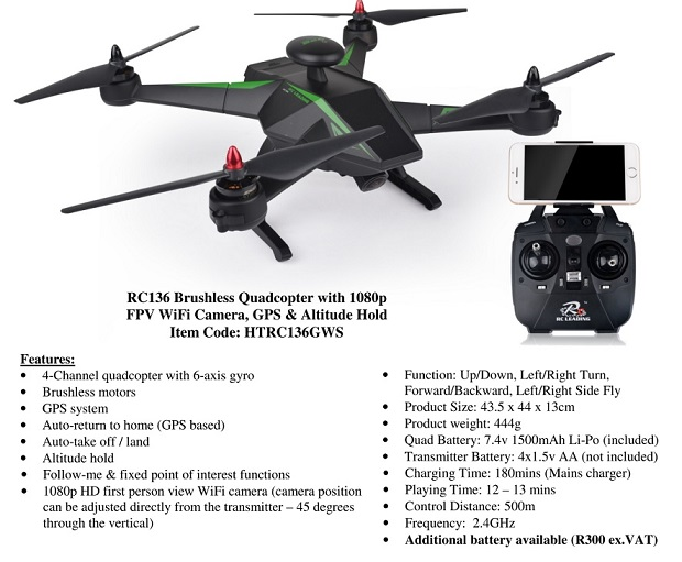 RC Leading RC136 Brushless Quadcopter with 1080p FPV WiFi Camera