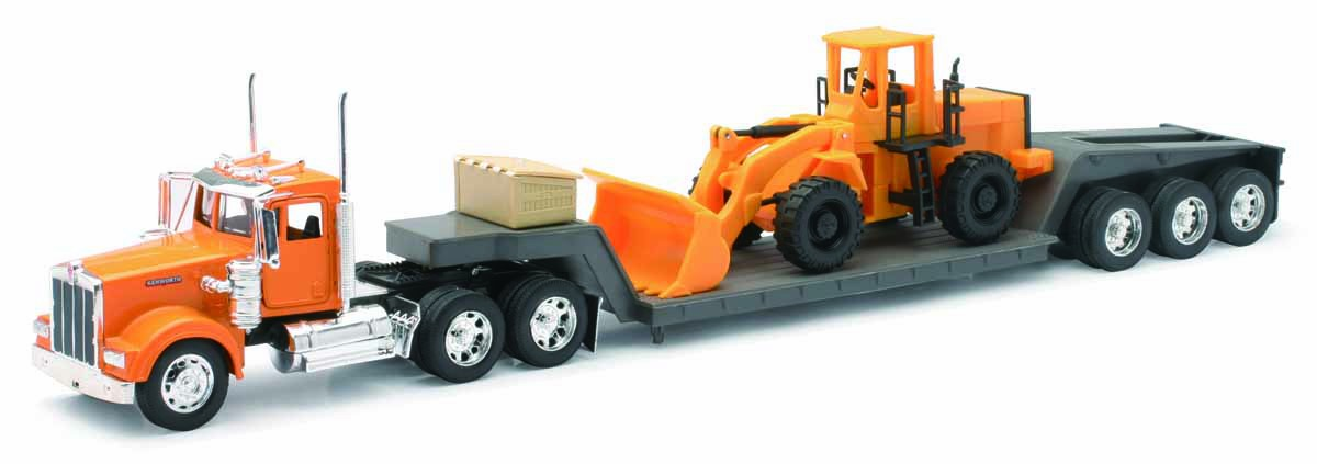 New-Ray 1/32 Kenworth W900 with Lowboy Trailer & Wheel Loader