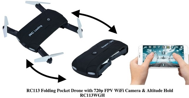 RC Leading RC113 Folding Pocket Drone with 720p FPV WiFi Camera