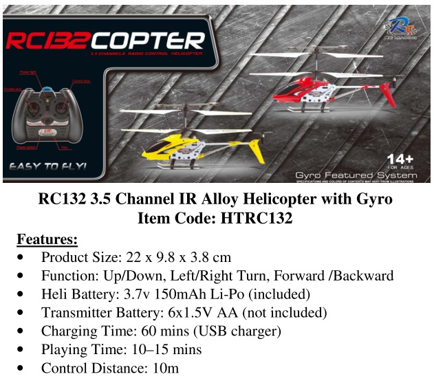 RC Leading 3.5 Channel IR Alloy Helicopter with Gyro