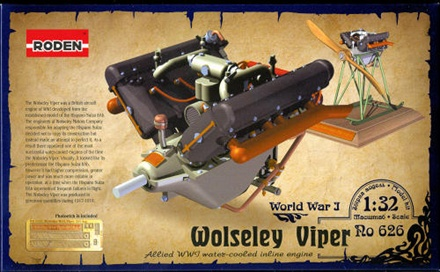 Roden 1/32 Wolseley Viper Allied WW1 Water-Cooled Inline Engine